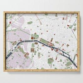 Paris city map minimal Serving Tray