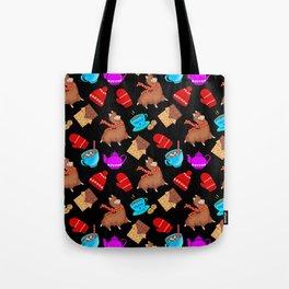 Cozy winter pattern. Christmas season. Chocolate, hot cocoa, hats, mittens, candy, llamas Tote Bag