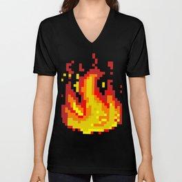 Pixel fire Unisex V-Neck