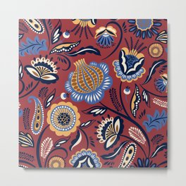 Abstract burgundy navy blue autumn floral Metal Print