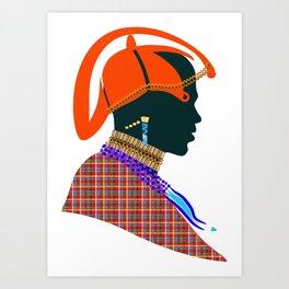massai warrior digital design zollione shop Art Print
