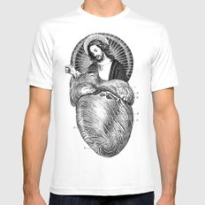 Jesus Loves You  White Mens Fitted Tee MEDIUM