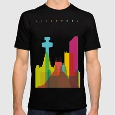 Shapes of Liverpool. Accurate to scale. Mens Fitted Tee Black LARGE