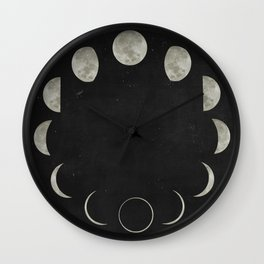 Moon Phases on Black Sky Wall Clock