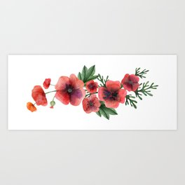 Meadow Red Poppies Art Print