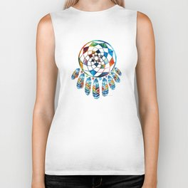 Native American Colorful Dream Catcher by Sharon Cummings Biker Tank