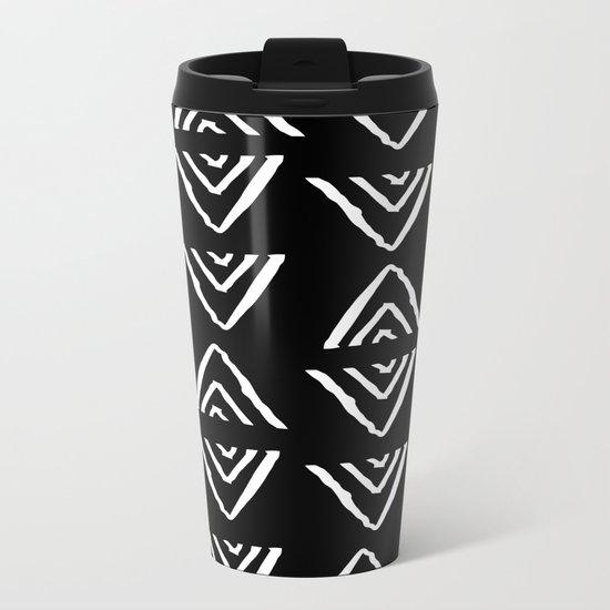 mudcloth 16 minimal textured black and white pattern home decor minimalist beach Metal Travel Mug