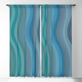 Zen Wavy Lines in Ocean Blue and Green Blackout Curtain