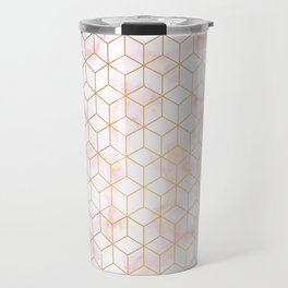 Geometric Gold Pattern on Pink Marble Travel Mug