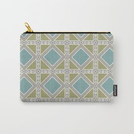 Teal and Moss Green on Grey Carry-All Pouch