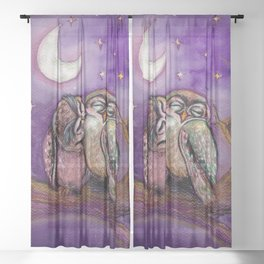 Owls in love Sheer Curtain