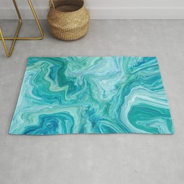 Aqua and Blue Marble Faux Stone Texture Background (Marble 004, Original) Rug