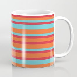 Turquoise, Orange and Red Vintage Stripes Coffee Mug