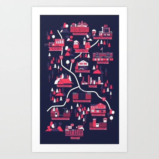 The Survivors Map (dark edition) Art Print