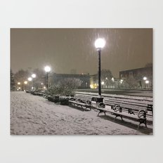 Romantic Seattle Snow At Night Canvas Print