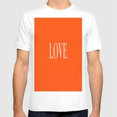 Love White Mens Fitted Tee MEDIUM
