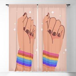 Mid Century Magic 94 Minimalist Rainbow Wristband Rainbow Power Fist Pastel Pink Millennial Style Blackout Curtain