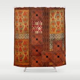 Vintage textile patches Shower Curtain