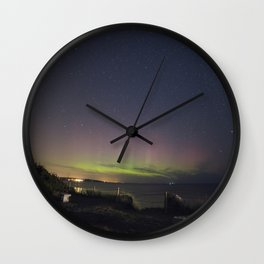 Aurora over Rockport Harbor Wall Clock