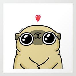 Mochi the pug loves you Art Print