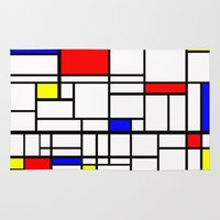 mondrian Area & Throw Rugs featuring Mondrian inspired by Steve W Schwartz Art