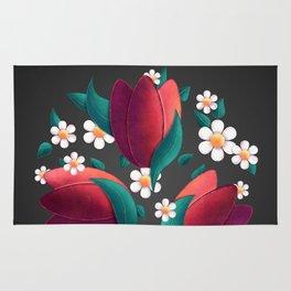Bouquet (Tulipes et Marguerittes) Noir Rug