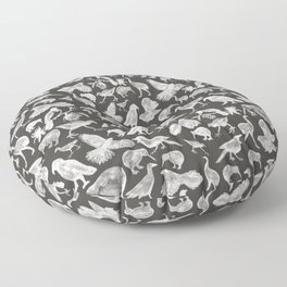 Birds of NZ Charcoal & White  Floor Pillow
