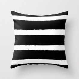 Black & White Paint Stripes by Friztin Throw Pillow