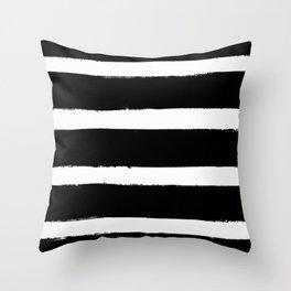 Black & White Paint Stripes by Friztin Throw Pillow