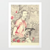 riff raff Art Prints featuring RiFF RAFF with ReD ROSeS by withapencilinhand