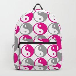 Pink and grey yin yang pattern Backpack