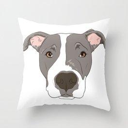 Pitbull Portrait Throw Pillow