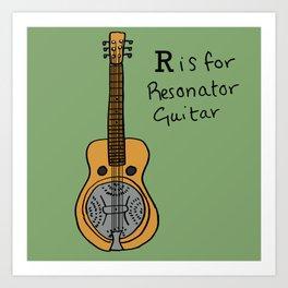 R is for Resonator Guitar Art Print
