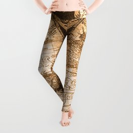 World Map Antique Vintage Maps Leggings