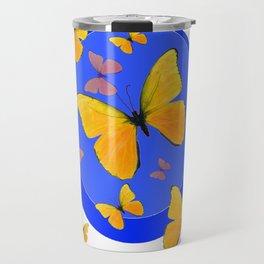 YELLOW BUTTERFLIES SWARM & BLUE RING MODERN ART Travel Mug