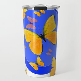 YELLOW BUTTERFLIES SWARM & BLUE RING MODERN ART Travel Mug