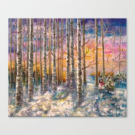 Winter Sunset Landscape Impressionistic Painting With Palette Knife Canvas Print