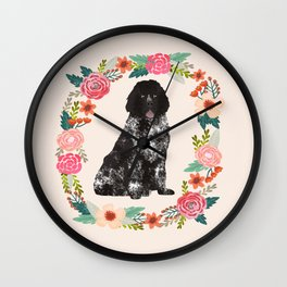 newfoundland floral wreath dog breed pet portrait pure breed dog lovers Wall Clock