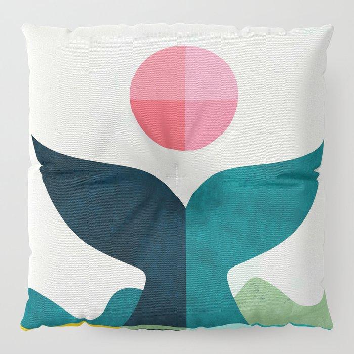 mid century whale sun sea Floor Pillow