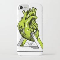 anatomical heart iPhone & iPod Cases featuring Green Anatomical heart  by Mia Hawk