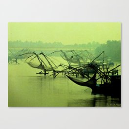 Dusk and the port Canvas Print