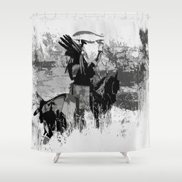 The Offering - Indian Brave with Salmon Shower Curtain