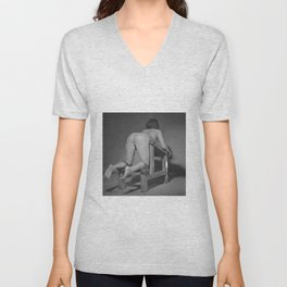 Tiedup naked woman on the Whipping bench in black and white 2# Unisex V-Neck