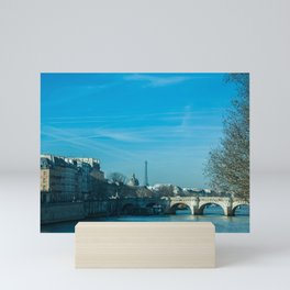 Sena River view in Paris Mini Art Print