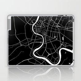 Bangkok Thailand Minimal Street Map - Midnight Black and White Laptop & iPad Skin