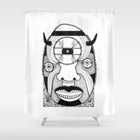 mask Shower Curtains featuring Mask by Studio Teer