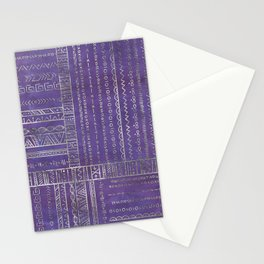 Tribal Ethnic pattern silver on  purple Stationery Cards