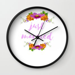 Just Married - Cool Flower Design Wall Clock