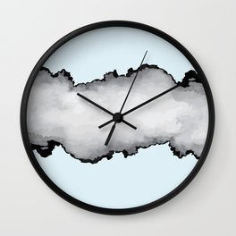 Light Blue Gray and Black Graphic Cloud Effect Wall Clock