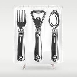 Life set. Lover to eat. Hungry. Glutton. Food Lover. Spoon and a fork. Heavy eater. Eat. Food. Shower Curtain
